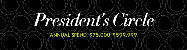 President's Circle: Annual Spend: $75,000 to $599,999
